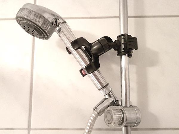 duschkopf klemme halterung f r brause bad dusche duschstange universal armatur. Black Bedroom Furniture Sets. Home Design Ideas