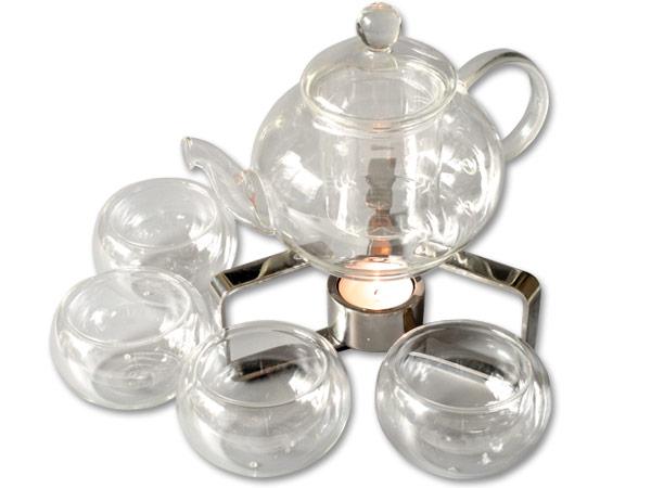 teekanne 600 ml aus borosilikat glas teesieb teefilter glaskanne mit 4 teetassen ebay. Black Bedroom Furniture Sets. Home Design Ideas